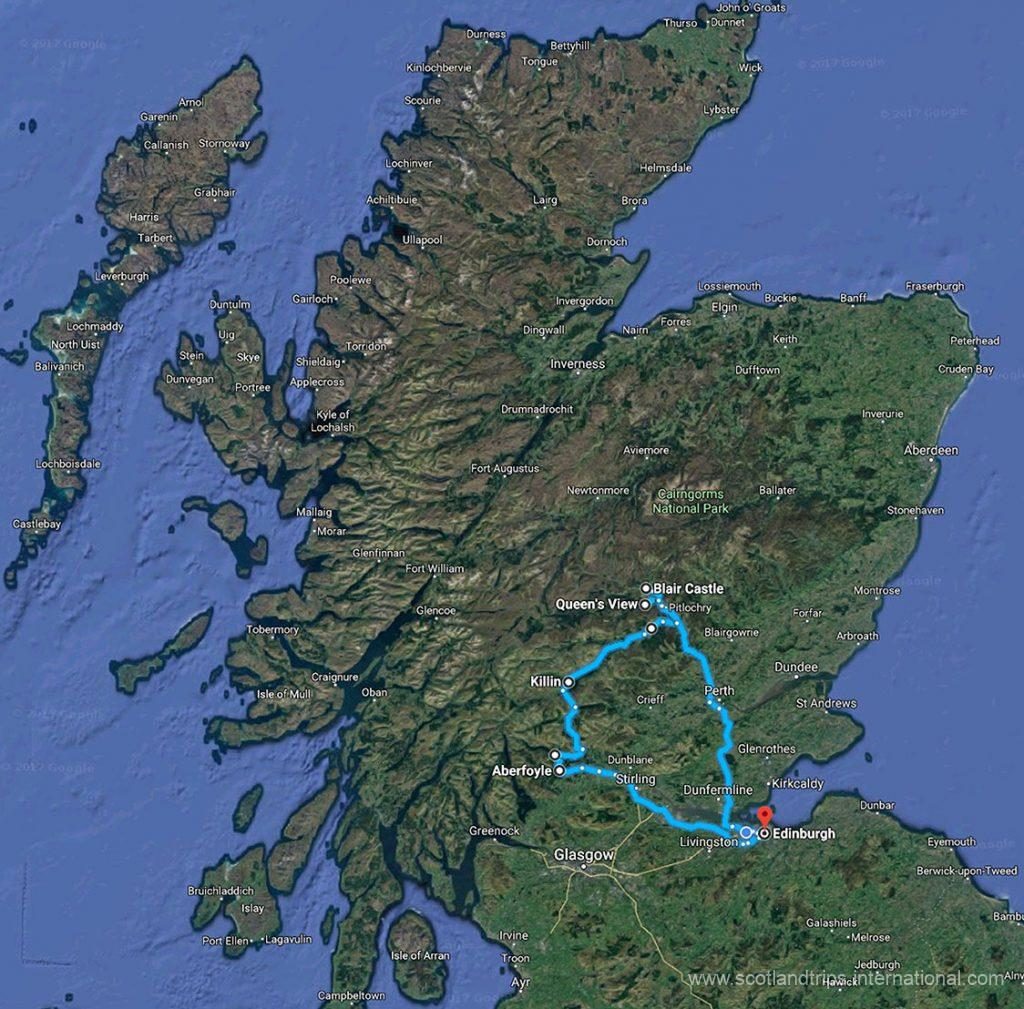 MAP Tour Lochs Castles The Trossachs Tay Forest