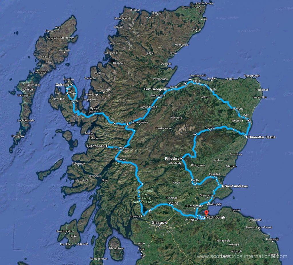 Tour Escocia especial Semana Santa mapa