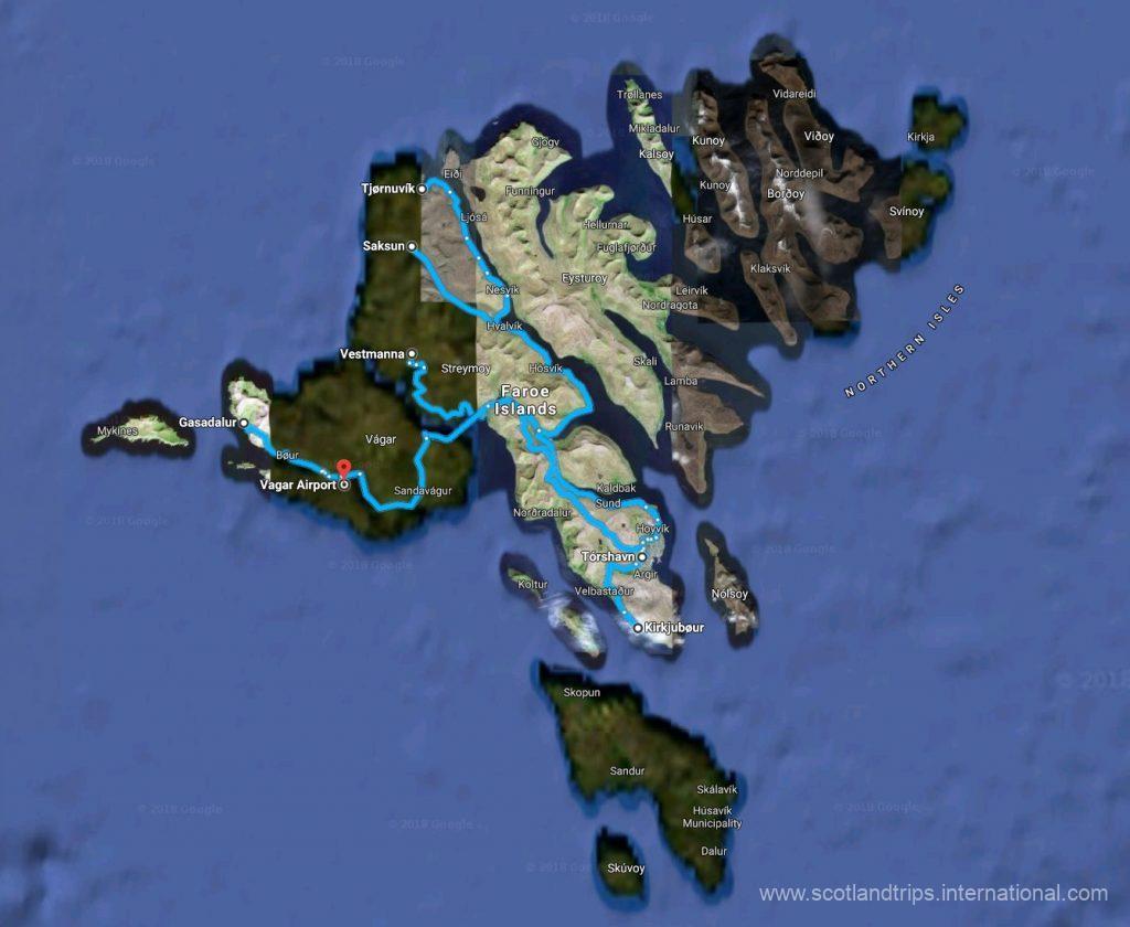 MAP TOUR FAROE ISLANDS
