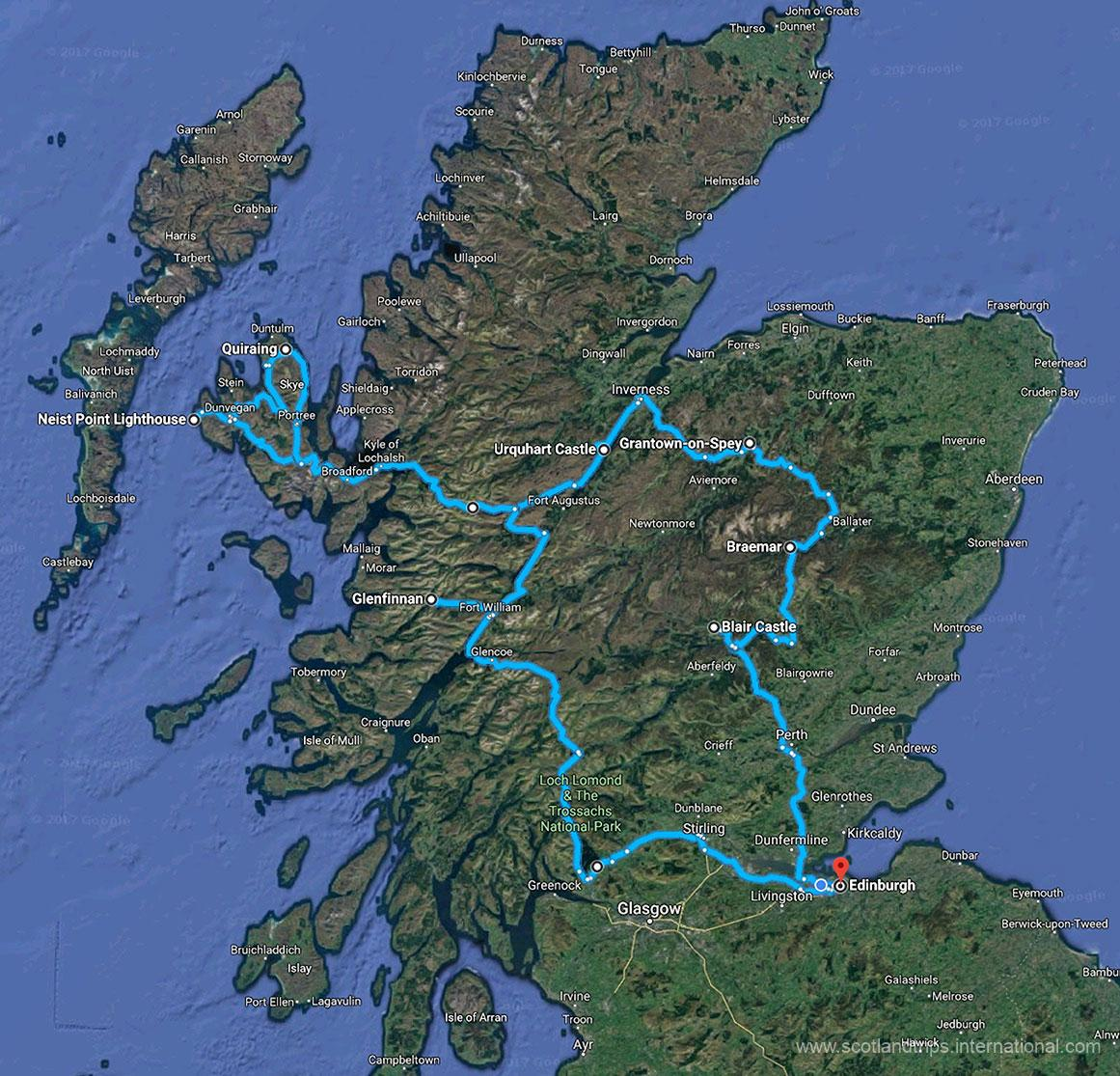 MAP-Tour-The-Highlands-Loch-Ness-Caledonian-Canal-Skye